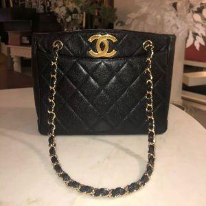 Auth CHANEL Black Caviar CC Chains Shoulder Bag